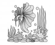 Printable adult zentangle fish on corals by bimdeedee coloring pages
