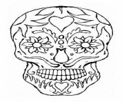 Printable adulte tatoo skull eyes flowers coloring pages