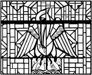 Printable adult stained glass pelican church arthon en retz france 20th complex version coloring pages
