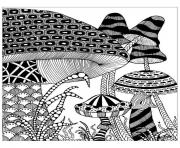 Printable adult big mushrooms coloring pages