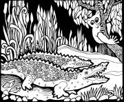 Printable adult africa crocodiles coloring pages