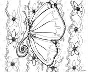 Printable adult butterfly by zenfeerie coloring pages