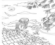adult owl on a roof by marion c coloring pages