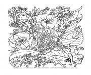 Printable adult savage flowers coloring pages