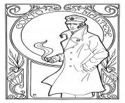 Printable adult corto maltese art nouveau coloring pages