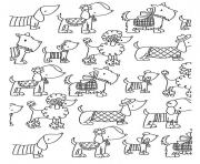 Printable adult difficult dogs elegants coloring pages