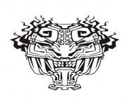 Printable adult mask inspiration inca mayan aztec 4 coloring pages