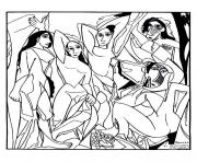 Printable adult picaso les demoiselles d avigon coloring pages