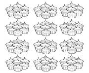 Printable adult cupcakes mosaique coloring pages