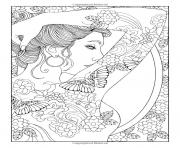 Printable adult shoulder tattooed woman coloring pages