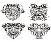 Printable adult mask inspiration inca mayan aztec coloring pages