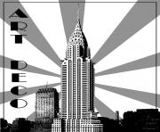 Printable adult art deco chrysler building new york coloring pages