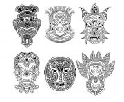 Printable adult 6 african masks coloring pages