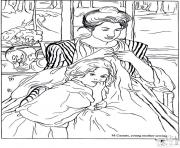 Printable adult cassat youg mother sewing coloring pages