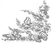 Printable adult difficult butterflies coloring pages