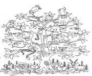Printable adult difficult tress birds snakes monkeys coloring pages
