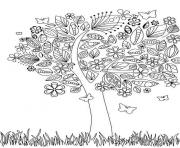 Printable adult tree with flowers coloring pages