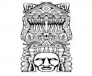Printable adult totem inspiration inca mayan aztec 1 coloring pages