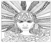 Printable adult chief mayan by olivier coloring pages