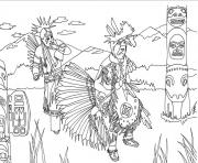 Printable adult native americans indians danse totem by marion c coloring pages