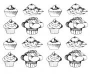 adult cupcakes oldstyle coloring pages