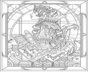 Printable adult queen art nouveau style coloring pages