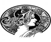 Printable adult visage art nouveau coloring pages