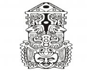 Printable adult totem inspiration inca mayan aztec 7 coloring pages