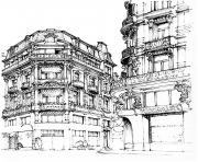 Printable adult paris street coloring pages