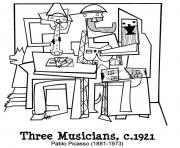 Printable adult picasto trois musiciens coloring pages