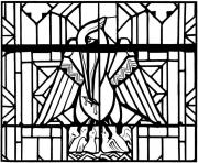 Printable adult stained glass pelican church arthon en retz france 20th coloring pages