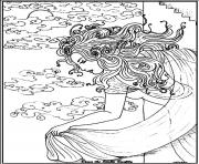 Printable adult woman sea coloring pages