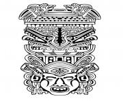 Printable adult totem inspiration inca mayan aztec 4 coloring pages