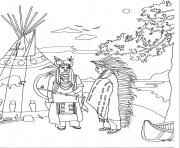 Printable adult two native americans by marion c coloring pages