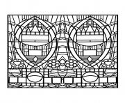 Printable adult stained glass de l apparition bleue edegem square version coloring pages