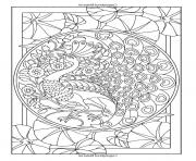 Printable adult art nouveau style peacock coloring pages