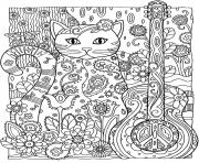 Printable adult cat guitar coloring pages