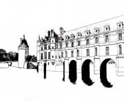 Printable adult chateau chenonceau coloring pages