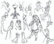 Printable adult disney sketches various characters 1 coloring pages