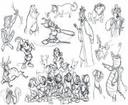 Printable adult disney sketches various characters 2 coloring pages