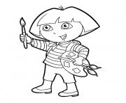 Printable dora paint coloring pages