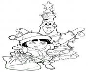 merry christmas dora coloring pages