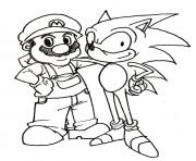 Printable mario and his friend sonic coloring pages