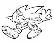 Print sonic saying peace for the world coloring pages