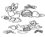 Printable cartoon easter  disney daisy and donald duckf784 coloring pages