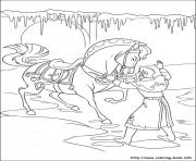 Printable arendelle in front of her furious horse coloring pages
