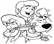 shaggy shared hotdog with scooby scooby doo a717 coloring pages