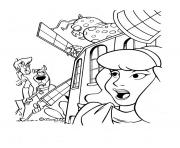 Print a monster hiding in a building scooby doo 19ea coloring pages