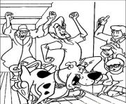 Print a zombie chasing them all scooby doo 28dd coloring pages