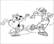 Print scooby and shaggy with roller skate scooby doo abb4 coloring pages